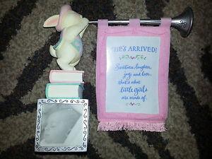 Hallmark Keepsake GIRL BABY ANNOUNCEMENT FRAME Birth Bunny Figurine Pink NEW