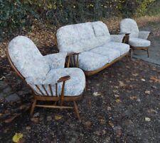 Vintage Ercol Windsor 3 Seat Sofa & Armchairs 3 Piece Suite Golden Dawn VGC