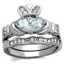 Wedding Engagement Ring Band Set Women's Irish Claddagh Heart Aaa Cz