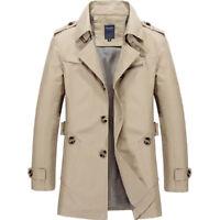 Men's Winter Casual Overcoat Slim Cotton Trench Coat Mid-long Jacket Stylish