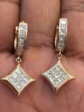 Pave 1,96 Cts Princess Cut Natürliche Diamanten Baumeln Ohrringe In 14K Gelbgold