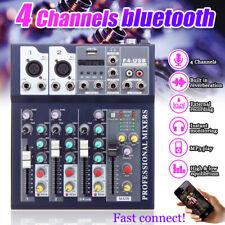 4 Channel USB bluetooth Live Studio Audio Mixer Mixing Console Karaoke Stage KTV
