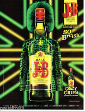 PUBLICITE ADVERTISING 086  2012  whisky J & B  crazy colors so British