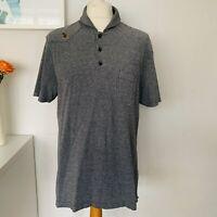 LUKE Polo Shirt Size XL Grey | Smart Casual Short Sleeve Collar Black White