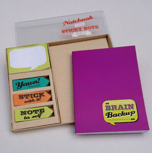 Back Chat BRAIN BACK UP NOTEBOOK & STICKY NOTES TABS SET Office Dad Kid FUN GIFT