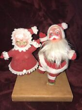 Vintage Christmas Flocked Plastic Waving Mr & Mrs Santa Claus! ~5�