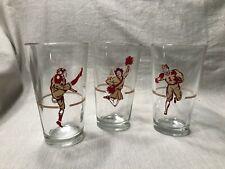 (3) Vintage 1940s-50s Football Pint Glasses NCAA College Cheerleader Running