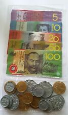 44 pc Australian Play Money Coins & Play Money Notes Laminated notes wont tear