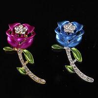 Love Rose Flower Enamel Rhinestone Crystal Wedding Bridal Bouquet Brooch Pin DIY