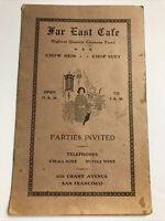 Vintage Far East Cafe Chinese Family Style Dinner Restaurant Menu San Francisco
