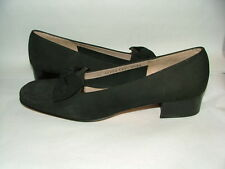 NEW WOB SALVATORE FERRAGAMO LOAFERS SIZE 9 1/2 4A SUEDE MADE IN ITALY BLACK #022
