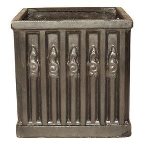 45cm Grey/Silver Heritage Clayfibre Ornate Box Planter - Square Garden Plant Pot