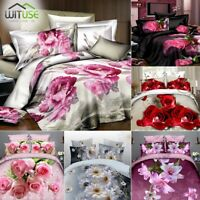 3D Printed Flower Bedding Set Twin/Queen Bed HD Duvet Quilt Cover Pillowcase 1C