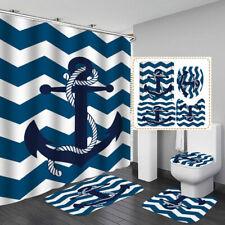 Blue Wave Anchor Shower Curtain BathMat Toilet Cover Rug Nautical Bathroom Decor