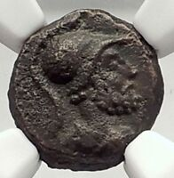 ANONYMOUS 81-196AD Rome Quadrans Authentic Roman Coin MARS CORNUCOPIA NGC i72906