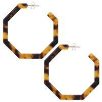 2X(Acrylic Earrings Hoop  Resin Earrings Geometric Octagon Statement Stud E7B1)