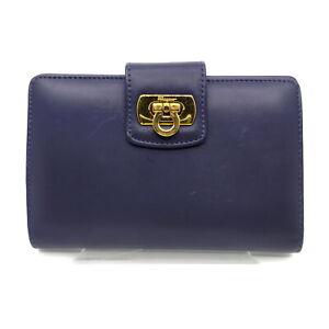 Ferragamo Diary Cover Gancio Navy Blue Leather 1721940