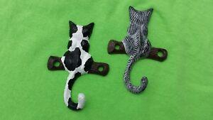 2 Handpainted Cast Iron Cat Wall Hooks Hanger Key Holder Kitten Kitty Tiger B&Wh