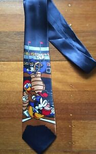 Mickey Mouse Daffy Duck baseball men's tie blue 100% silk