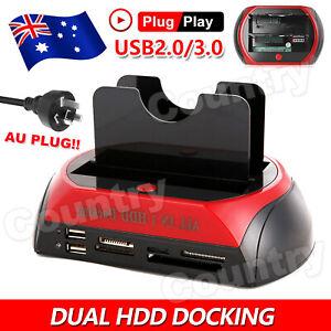 "HDD Docking Station Dual 2.5""/3.5"" SATA/IDE Hard Disk Drive Dock OTB Card Reader"