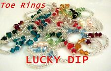 Toe Ring / Pinky Ring LUCKY DIP Austrian crystals / pearls Handcrafted STRETCHY
