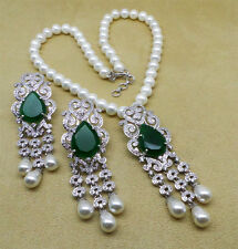 Cubic Zirconia Emerald Pearl Gorgeous Necklace Set 421 0N 7