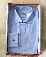 NIB Authentic HERMES Dress Shirt Blue Stripe Rayures Sellier Cuff Poplin MOP 39