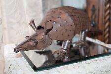 Bronze Metal Armadillo Statue Yard Art Springy Head/Tail Western Rustic Decor B