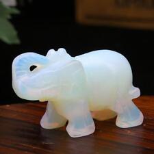 Weiße Sri Lanka Mondstein-Hand-geschnitzte Elefant-Opal-Edelstein-Verzierungs