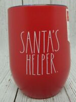 Rae Dunn Red Santa's Helper Holiday Christmas Covered Stainless Wine Tumbler NEW