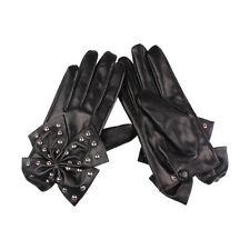 Black Lady Gaga Big Bow Rivets Women Faux Leather Finger Gloves Size L WS B2Y1