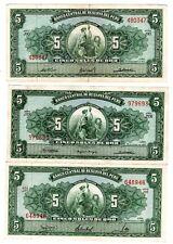 LOT 3 BILLETS Perou PERU 5 SOLES DE ORO 1963 - 1965 - 1966  LIMA BON ETAT