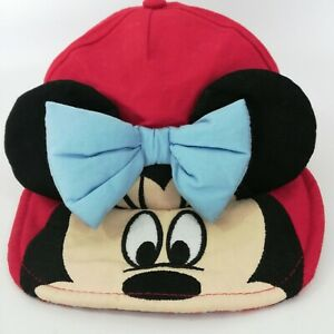Minnie Mouse Baby Hat 6-12M Disney Store Red Ears Bow Gingham Baseball Cap