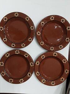 Pottery Barn 4 Clay Terracotta Appetizer Plates Tapas Dessert plate Portugal