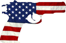 """American Flag Pistol USA Gun Protection Rights 2nd Amendment Decal 5"""" Wide"""