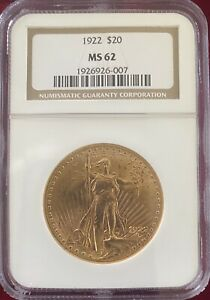 1922 $20 Saint-Gaudens Gold Double Eagle MS-62 NGC