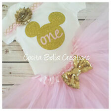 first birthday outfit,Minnie Mouse outfit,Pink And Gold bosyduit,Handmade