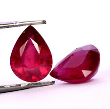4.33 Cts Natural Ruby Pear Cut Pair 9x7 mm Reddish Shade Loose Gemstones GF