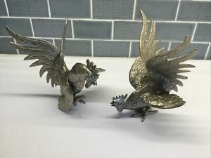 Two French Made Metal Fighting Roosters, Beautiful Detail, Metal?