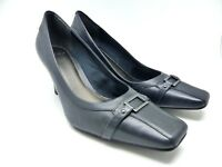 CLARKS blue leather heels/court shoes with buckle detail size UK 8D
