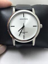 Armitron Men's 20/5140WTSVBK SILVER-Tone and BLACK Leather Strap Watch-H9