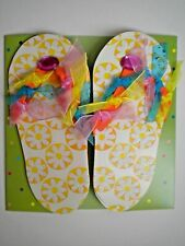 PAPER MAGIC ~ GLITTER & GEMS FLIP-FLOPS BIRTHDAY GREETING CARD + ENVELOPE
