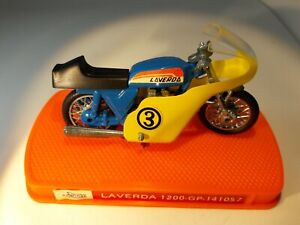"""Guiloy Laverda 1200 GP 1:24 motorcycle 2.75"""" blue w yell windshield nice decals"""
