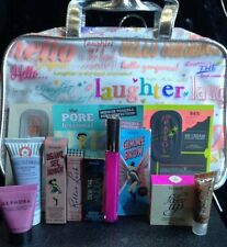 Benefit Cosmetics hanging toiletry bag with lots of goodies makeup new