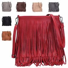 Ladies Faux Leather Fringe Cross Body Bag Chic Tassel Shoulder Bag Handbag G003