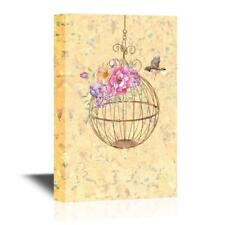 Wall26 - Bird and a Round Bird Cage with Flowers Gallery - CVS - 12x18 inches