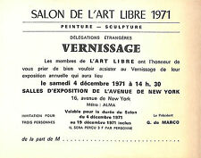 "CARTON INVITATION VERNISSAGE "" SALON DE L' ART LIBRE "" 1971"