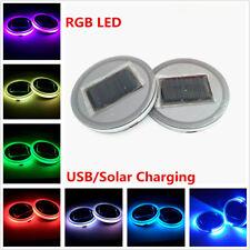 2pcs Car Interior Decor Atmosphere Light Colorful LED Solar Power Cup Holder Pad