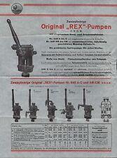 REX-Pumpen, Prospekt 1925, Original REX-Pumpen zwei-zylindrig Nr. 640 A-C AM-CM