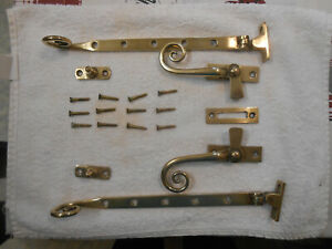 Antique - Original Solid Brass Window Stays (27cms/10.5ins) and Fixings